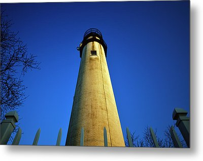 Metal Print featuring the photograph Fenwick Island Lightouse And Blue Sky by Bill Swartwout