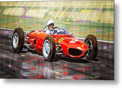 Ferrari 156 Dino British Gp1962 Phil Hill Metal Print by Yuriy Shevchuk
