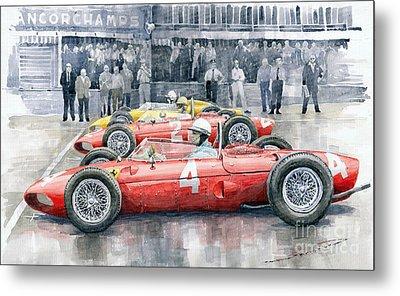 Ferrari 156 Sharknose 1961 Belgian Gp Metal Print by Yuriy Shevchuk