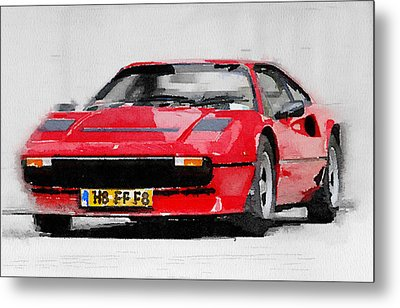 Ferrari 208 Gtb Turbo Watercolor Metal Print by Naxart Studio