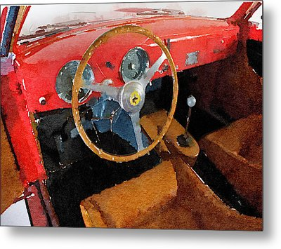 Ferrari 225 S Berlinetta Interior Watercolor Metal Print by Naxart Studio