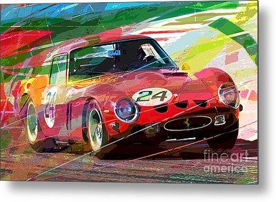Ferrari 250 Gto Vintage Racing Metal Print by David Lloyd Glover