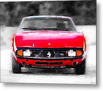 Ferrari 365 Gtc4 Front Watercolor Metal Print by Naxart Studio