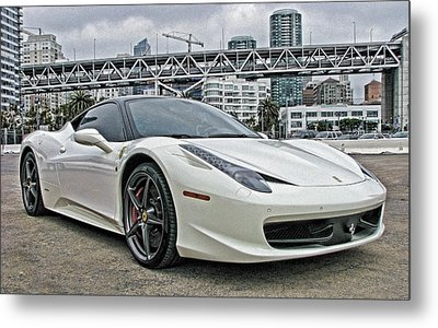 Ferrari 458 Italia In White Metal Print