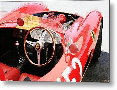 Ferrari Cockpit Monterey Watercolor Metal Print by Naxart Studio