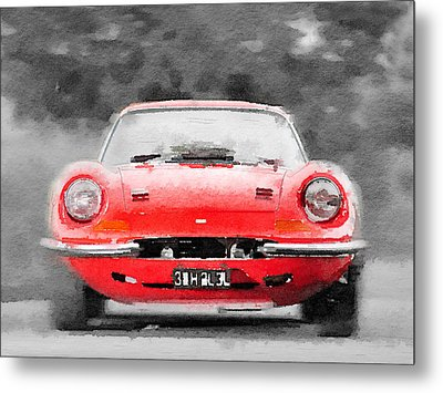 Ferrari Dino 246 Gt Front Watercolor Metal Print by Naxart Studio