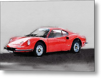 Ferrari Dino 246 Gt Watercolor Metal Print by Naxart Studio