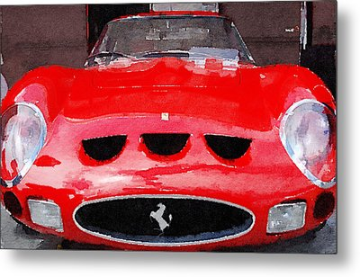 Ferrari Front End Monterey Watercolor Metal Print by Naxart Studio