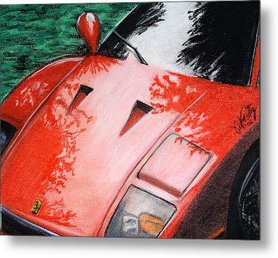Ferrari In Red Metal Print