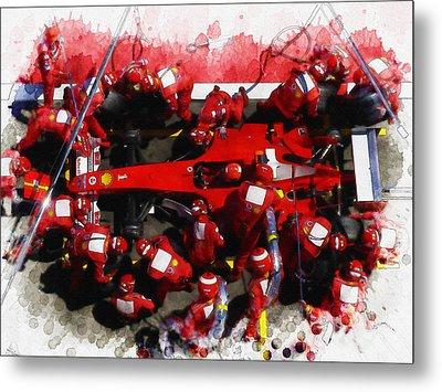 Ferrari Make Changes In Pit Lane Metal Print