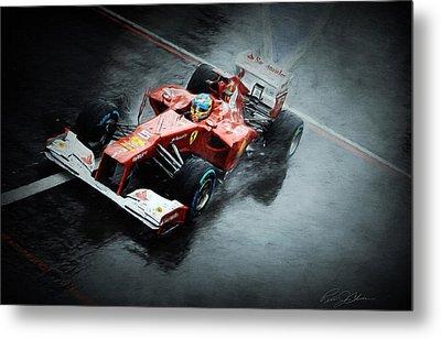 Ferrari Rain Dance Metal Print by Peter Chilelli