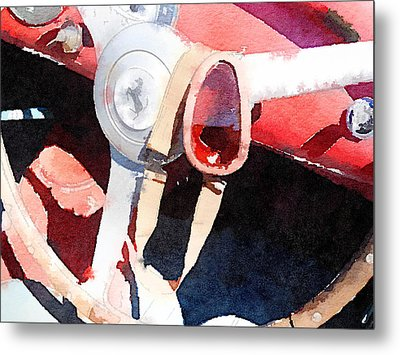 Ferrari Steering Wheel Watercolor Metal Print by Naxart Studio