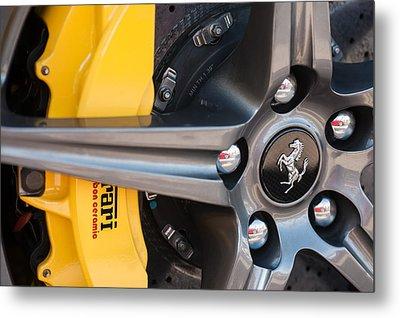 Ferrari Wheel - Brake Emblem Metal Print