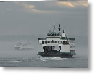 Metal Print featuring the photograph Ferries Pass In The Fog by E Faithe Lester