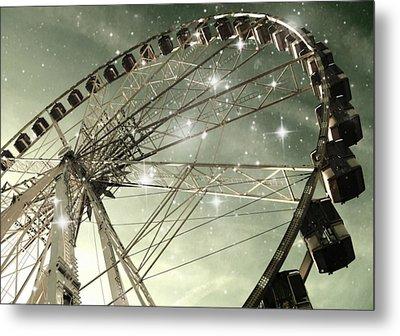 Ferris Wheel At Night In Paris Metal Print by Marianna Mills