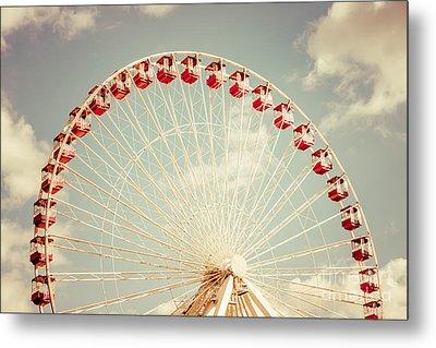 Ferris Wheel Chicago Navy Pier Vintage Photo Metal Print