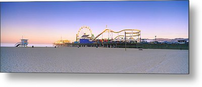 Ferris Wheel Lit Up At Dusk, Santa Metal Print