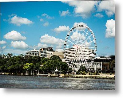 Ferris Wheel On The Brisbane River Metal Print by Parker Cunningham