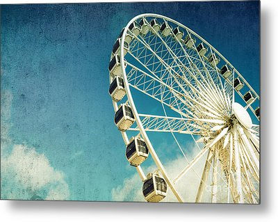Ferris Wheel Retro Metal Print by Jane Rix