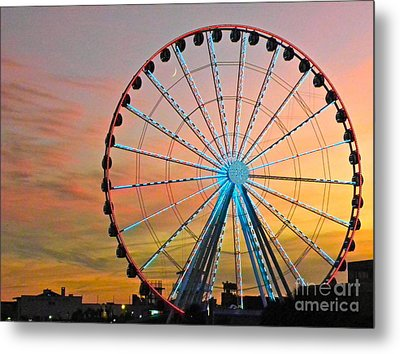 Ferris Wheel Sunset Metal Print by Eve Spring
