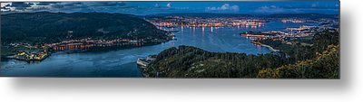 Metal Print featuring the photograph Ferrol's Estuary Panorama From La Bailadora Galicia Spain by Pablo Avanzini