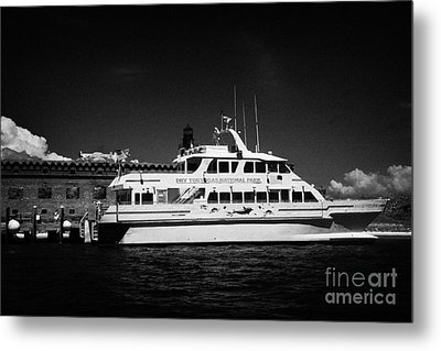 Ferry And Dock At Fort Jefferson Dry Tortugas National Park Florida Keys Usa Metal Print by Joe Fox