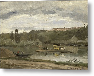 Ferry At Varenne-saint-hilaire, 1864 Oil On Canvas Metal Print by Camille Pissarro