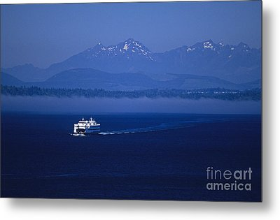 Ferry Boat In Puget Sound With Olympic Mountains Metal Print