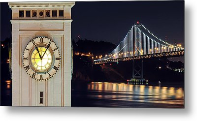 Ferry Building And Bay Bridge Metal Print