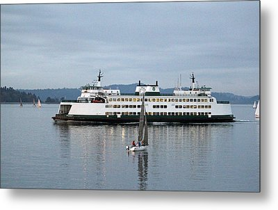 Metal Print featuring the photograph Ferry Issaquah And Sailboats by E Faithe Lester