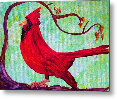 Festive Cardinal Metal Print by Eloise Schneider