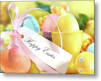 Festive Easter Eggs Metal Print by Sandra Cunningham