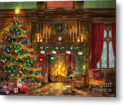 Festive Fireplace Metal Print by Dominic Davison