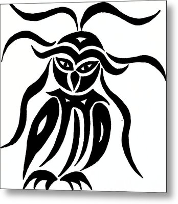 Festive Owl Metal Print by Beth Akerman