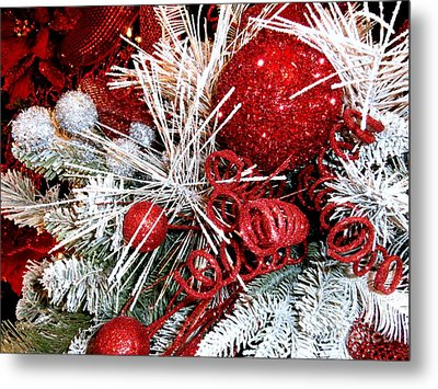 Festive Red And White Metal Print by Janine Riley
