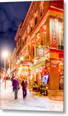 Festive Streets Of Old Quebec Metal Print by Mark Tisdale