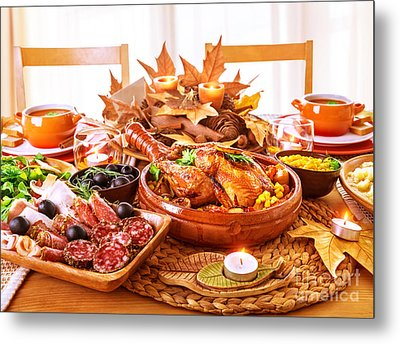 Festive Thanksgiving Day Dinner Metal Print