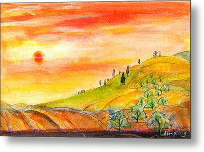 Metal Print featuring the painting Field And Sunset by Mary Armstrong