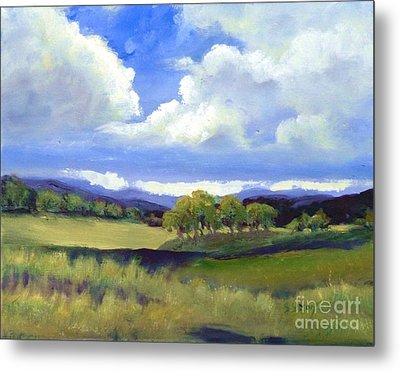 Metal Print featuring the painting Field In Spring by Sally Simon