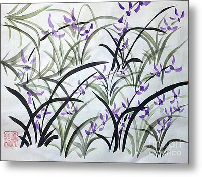 Field Of Orchids Metal Print