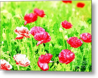 Field Of Painterly Red And Orange Poppies Metal Print