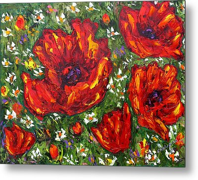 Field Of Poppies Metal Print