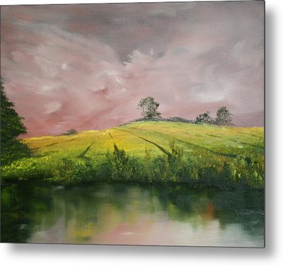 Metal Print featuring the painting Field Of Rapeseed Oil by Jean Walker