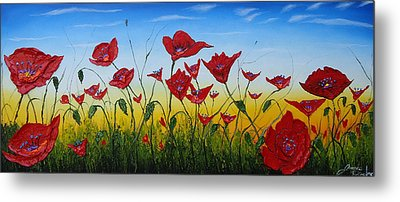 Field Of Red Poppies 4 Metal Print by Portland Art Creations