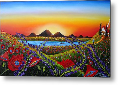 Field Of Red Poppies At Dusk 3 Metal Print by Portland Art Creations