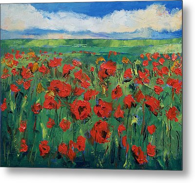 Field Of Red Poppies Metal Print by Michael Creese