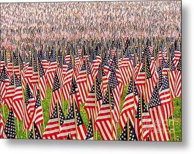 Field Of Us Flags Metal Print