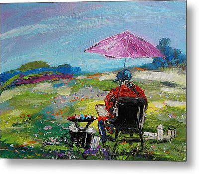 Metal Print featuring the painting Field Painter  by John Williams