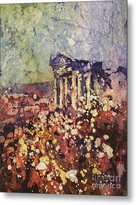 Fields Of Flower- And Roman Temple Metal Print
