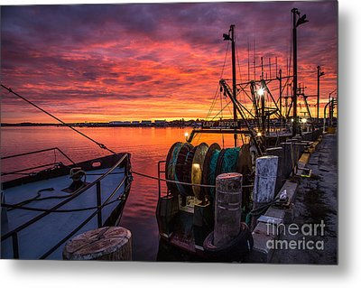 Fiery Sky Over Portland Harbor Metal Print by Benjamin Williamson